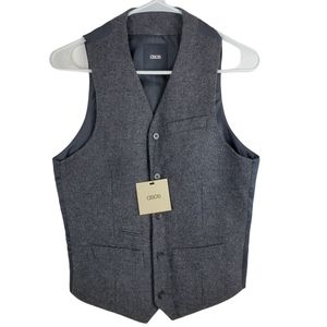 """Asos 34"""" Chest Wool Button Up Sleeveless Vest Gray"""